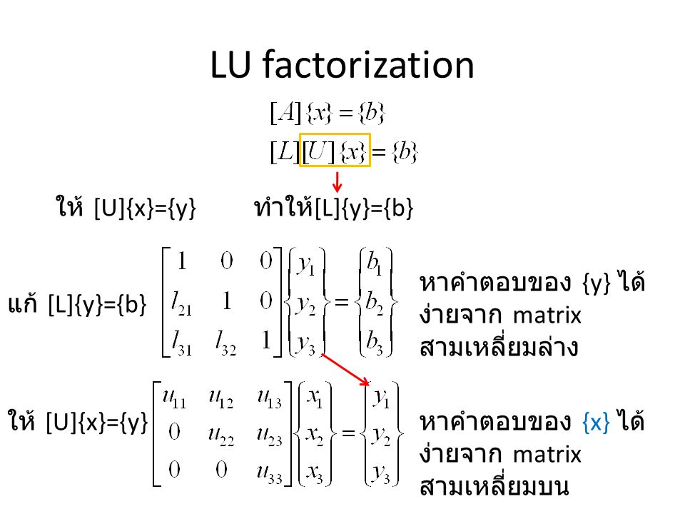 LU factorization ให้ [U]{x}={y} ทำให้[L]{y}={b}